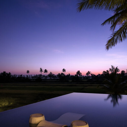 View of infinity pool at alila diwa resorts