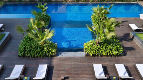 Ariel view of swimming pool at JW Marriott Hotel
