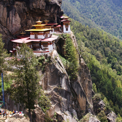 Taktsang Fort built on a cliff top
