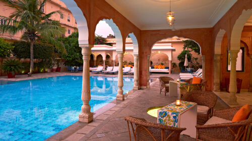 Poolside at the Samode Haveli