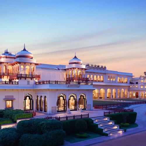 Taj Rambagh Palace at sunset