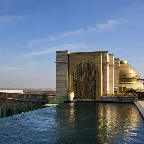 The Leela Palace rooftop pool in New Delhi