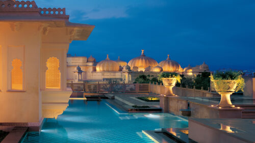 The Oberoi Udaivilas pool at night