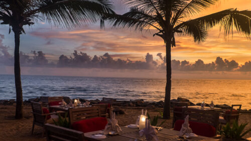 Dinner on the beach at Vivanta by Taj, Kovalam