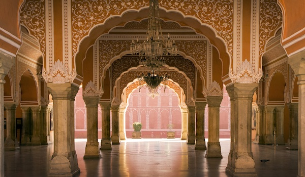 royal hall in Jaipur palace, India