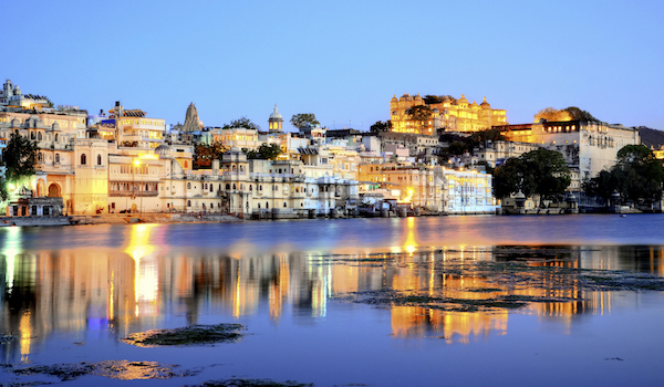 Rajasthan, India, Udaipur fortress by night